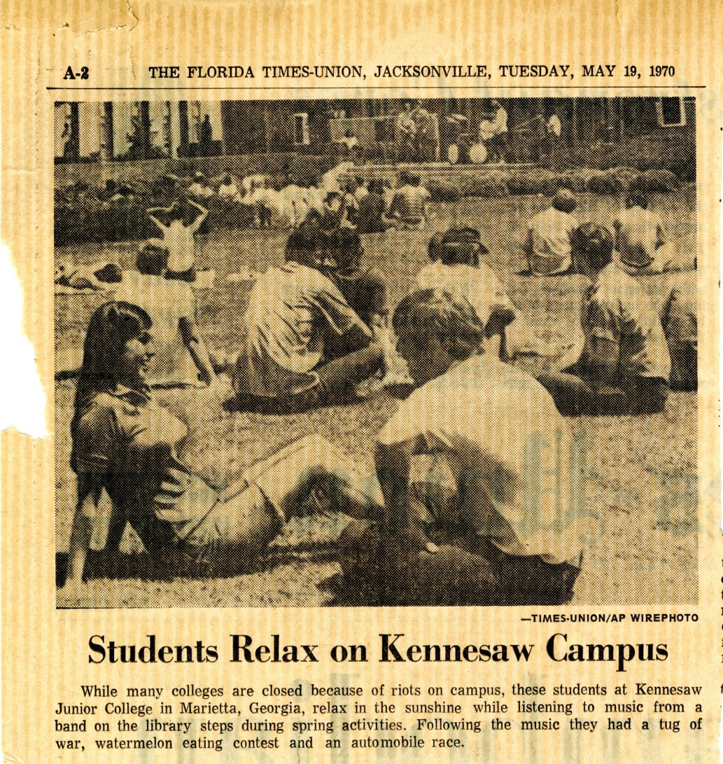 "Clipping, ""Students Relax on Kennesaw Campus,"" The Florida Times-Union, Jacksonville, Florida, May 19, 1970"