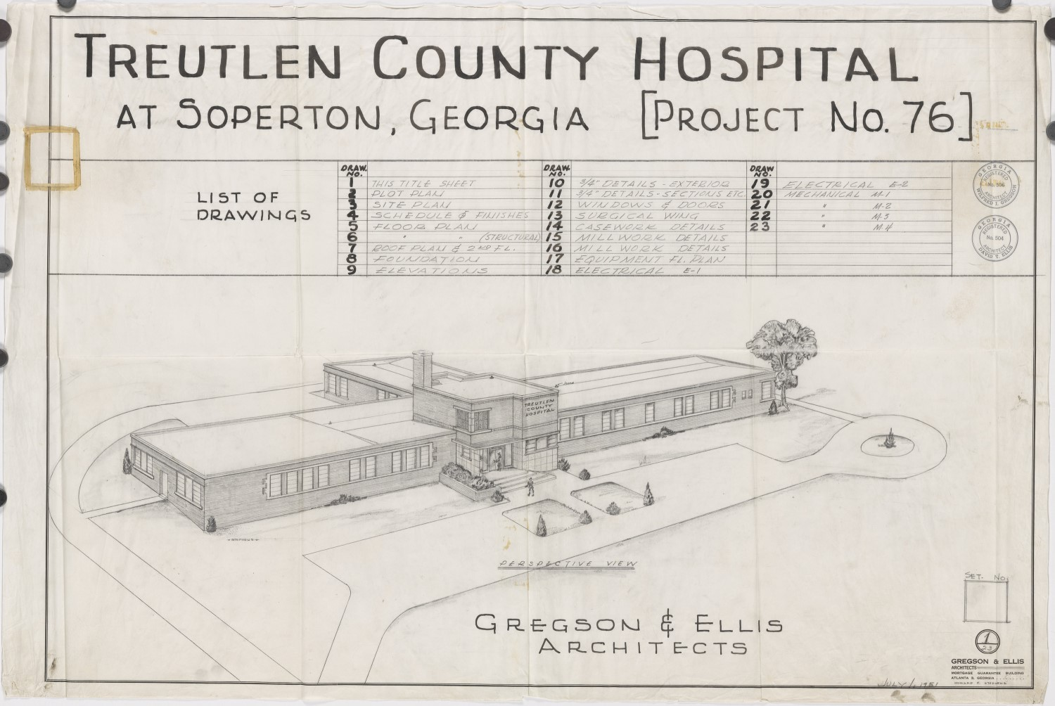 Perspective drawing of Treutlen County Hospital